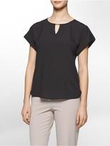 Calvin Klein Bar Plaque Cuffed Short Sleeve Top