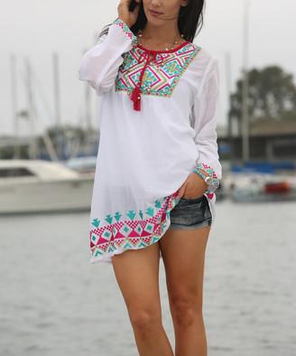 Ananda's Collection Women's Tunics White/fuschia - White & Fuchsia Geo-Embroidery Tunic - Women