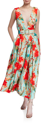Badgley Mischka Floral Mikado Sleeveless Belted Dress