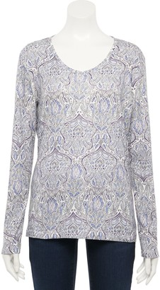 Croft & Barrow Women's Classic Long Sleeve V-Neck Tee