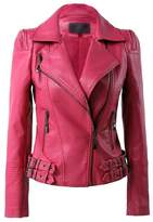 Benibos Womens Faux Leather Zip Up Moto Biker Jacket With Many Details (L, )