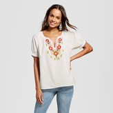 Happy by Pink Chicken Women's Floral Embroidered Woven Top