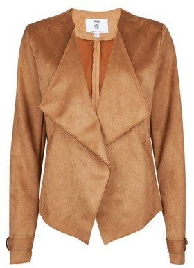 Dorothy Perkins Womens Tall Tan Suedette Waterfall Jacket