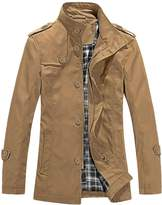 uxcell Men Convertible Collar Zip Front Casual Trench Coat L