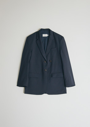 Mijeong Park Women's Oversized Tailored Jacket in Navy, Size Extra Small   Wool