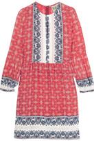 Sea Victoria Crochet-trimmed Printed Silk Mini Dress - Red