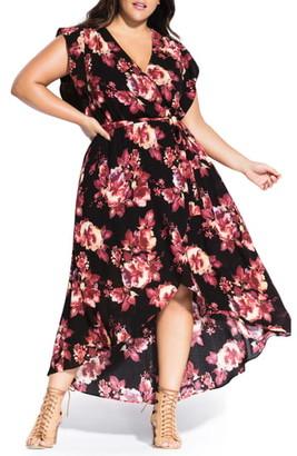 City Chic Monet Rose Faux Wrap Maxi Dress