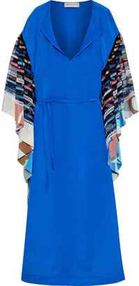 Emilio Pucci Embellished Tulle-paneled Crepe De Chine Maxi Dress