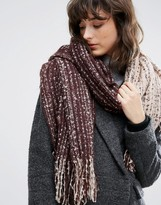 Pieces Color Block Scarf in Beige and Brown