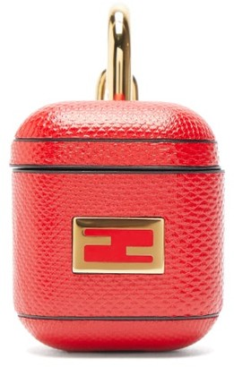 Fendi Ff-logo Snakeskin Airpods Case - Red