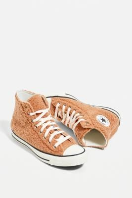 Converse Chuck Taylor All Star Brown Teddy High Top Trainers - Brown UK 8 at Urban Outfitters