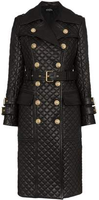Balmain quilted double-breasted trench coat