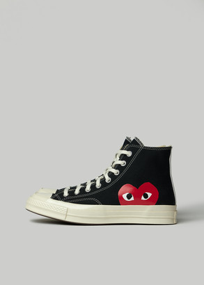 Comme des Garcons Men's Play Converse Chuck Taylor High Shoes in Black Size US 8 Cotton/Rubber