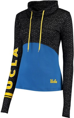 Colosseum Women's Black/Blue UCLA Bruins Scaled Cowl Neck Pullover Hoodie