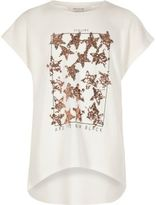 River Island Girls cream sequin star T-shirt