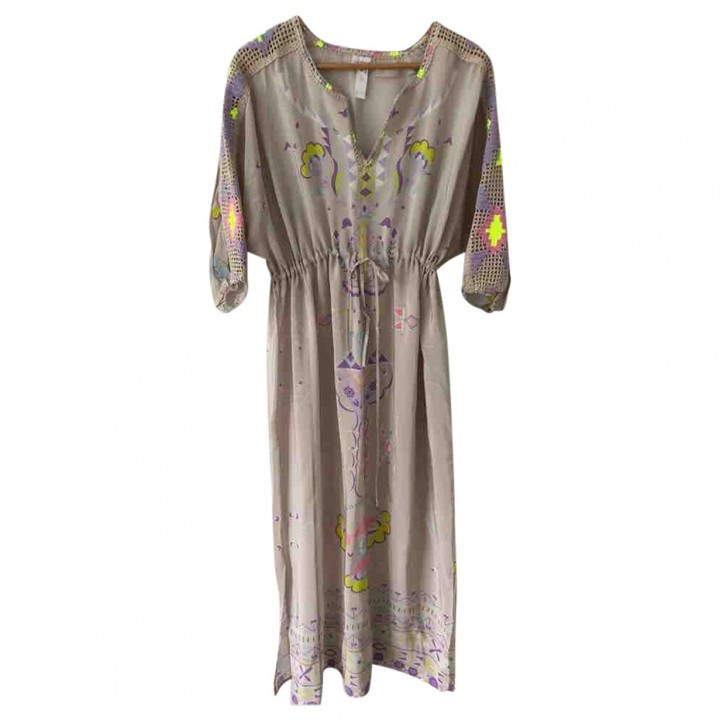 Emamo Beige Silk Dress for Women