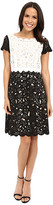 NUE by Shani Fit & Flare Laser Cutting Dress w/ Popover