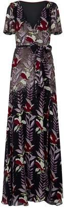 Temperley London Bellflower Sequin Wrap Gown