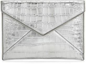 Rebecca Minkoff Leo Croc-Embossed Metallic Leather Envelope Clutch