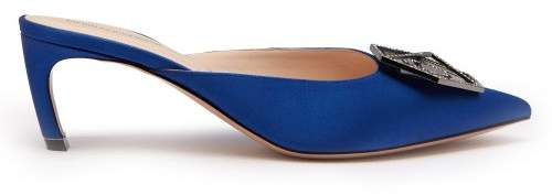 Nicholas Kirkwood Eden Crystal Embellished Satin Mules - Womens - Navy