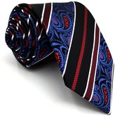 Shlax & Wing Mens Necktie 100% Silk Tie Stripes Paisley Blue Red Classic New Design