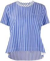 Sacai striped asymmetrical hem cotton blouse