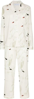 Desmond & Dempsey Swan Print Cotton Pajama Set
