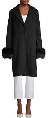 Elie Tahari Grace Blue Fox Fur-Trim Coat