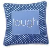 One Grace Place Simplicity Blue Decorative Pillow Laugh, Blue, Light Blue, White by