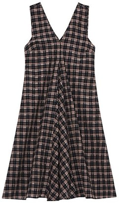 Ganni Seersucker Check Sleeveless Mini Dress