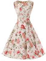 Ensnovo Womens Vintage 1950s Sleeveless Retro Floral Print Rockabilly Swing Dress Rose , S