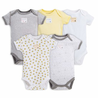 Burt's Bees Baby baby boys Bodysuits 5-pack Short & Long Sleeve One-pieces 100% Organic Cotton Layette Set