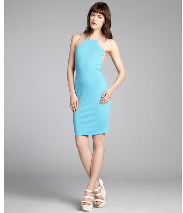 Gemma turquoise and nude jersey knit netted trim dress
