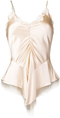Alexander Wang Ruched Lace Beaded Top