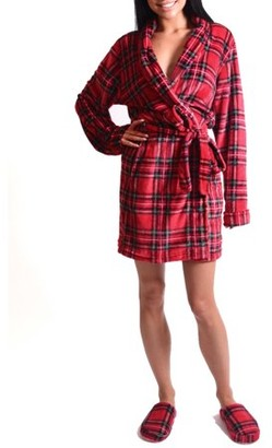 Body Candy Women's Tartan Plaid Luxe Plush Robe and Slipper Set