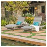 Christopher Knight Home Crete 3pc All-Weather Wicker Patio Chaise Lounge Set - Gray