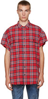 R 13 Ssense Exclusive Red Check Cut-off Shirt