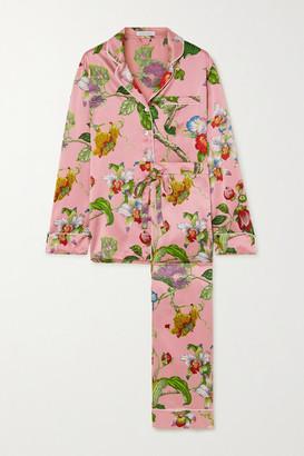 Olivia von Halle Lila Floral-print Silk-satin Pajama Set - Pink
