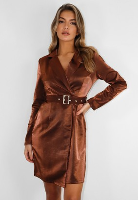 Missguided Petite Bronze Belted Blazer Dress