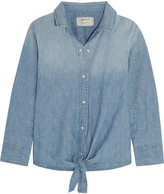 Current/Elliott The Western tie-front cotton-blend chambray shirt