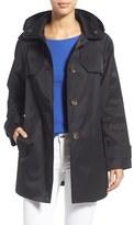 London Fog Hooded Single Breasted A-Line Coat