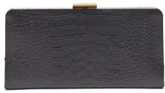Saint Laurent Crocodile Effect Leather Clutch - Womens - Black