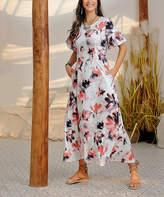 Reborn Collection Women's Maxi Dresses Peach - Peach & Black Floral Ruffle Sleeve Maxi Dress - Women