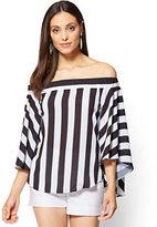 New York & Co. Off-The-Shoulder Blouse - Black & White Stripe