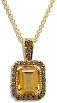LeVian 0.28TCW Diamonds, Citrine and 14K Yellow Gold Chocolatier Pendant Necklace