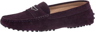 Tod's Purple Suede Crystal Stud Penny Loafers Size 38