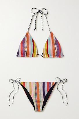 Missoni Riga Striped Lurex Triangle Bikini - Red