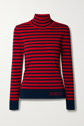 Moncler Lupetto Striped Knitted Turtleneck Sweater - Red
