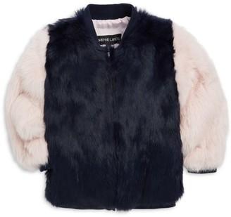 Adrienne Landau Little Girl's & Girl's Rabbit Fur Varsity Jacket