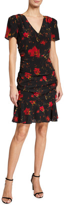 Milly Pam Brushed Floral Print Silk Dress